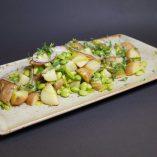Potetsalat med bønner og purre