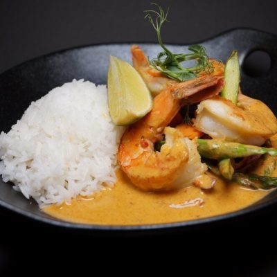 Thai curry scampi