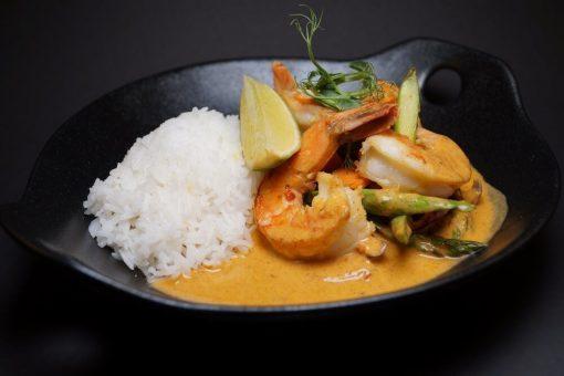 Thai curry scampi